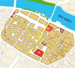 Plattegrond van Caesaraugusta op een moderne kaart van Zaragoza