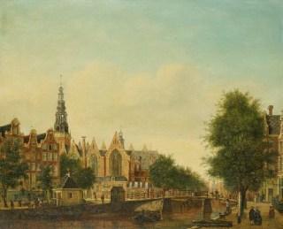 De Oude Kerk in Amsterdam, gezien vanaf de Oudezijds Voorburgwal