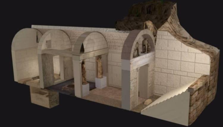 3D-weergave van de Amphipolis-tombe (cc - Magikos fakos)