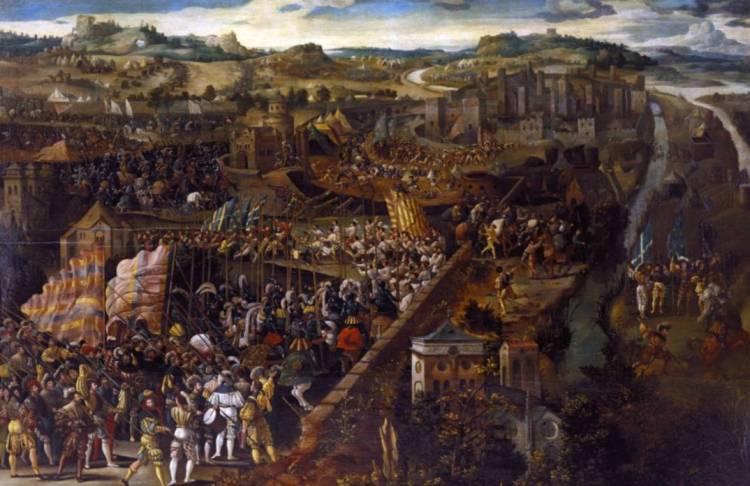De slag bij Pavia 16e eeuw.