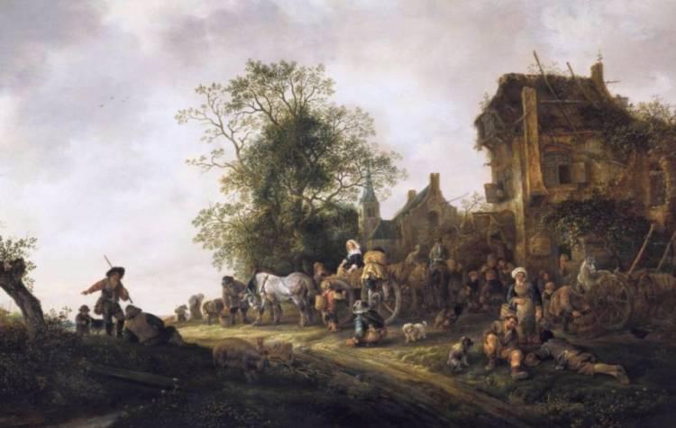 Reizigers bij een herberg, Isaack van Ostade, 1645