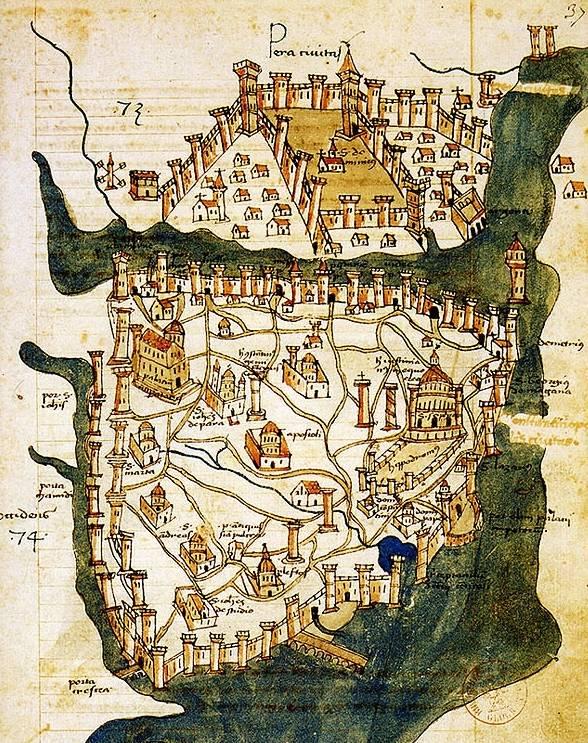 Constantinopel in 1422 (Pera op bovenste helft van de afbeelding)