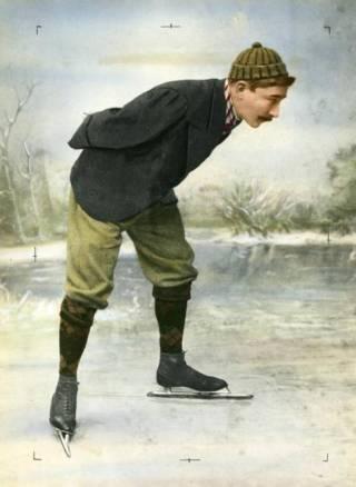 Jaap Eden op de schaats - ingekleurde zwartfit-foto (Nationaal Archief)