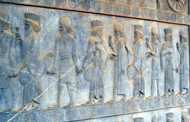 Een wet van Meden en Perzen - Meden en Perzen afgebeeld in Persepolis, Iran uit de 5e eeuw v.Chr..