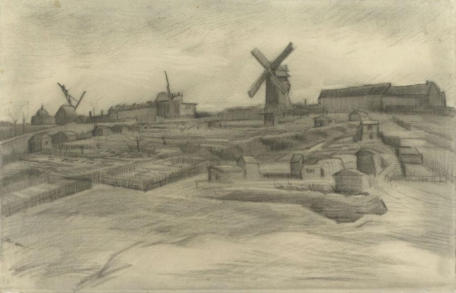 De tekening uit de collectie van het Van Gogh Museum: De heuvel van Montmartre - Vincent van Gogh, 1886 (Van Gogh Museum)