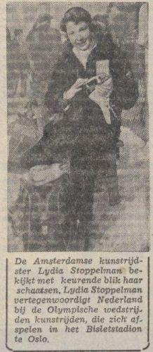 Lidy Stoppelman (Limburgsch Dagblad, februari 1952 - Delpher)