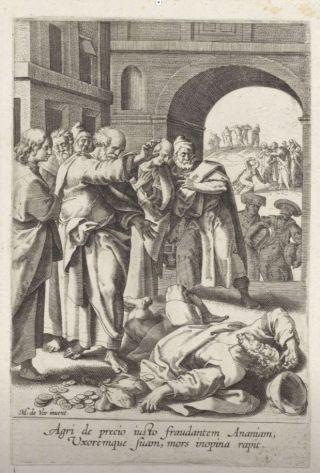 Maarten de Vos, De dood van Ananias, 1590-1600. Gravure, 194 x 127 mm. Rijksmuseum, Amsterdam