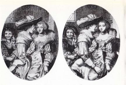 Censuur in de 17e eeuw. de arm van de edelman rechts is links in het niets verdwenen. (Uit: H.W.J. Volmuller: Het oudste beroep)