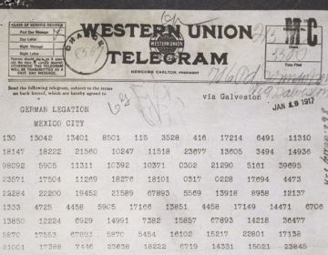 Het originele telegram zoals het vanuit de Duitse ambassade in Washington naar de Duitse ambassade in Mexico werd gestuurd (The U.S. National Archives)