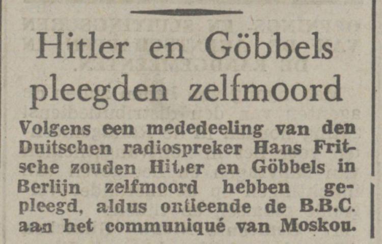 Bericht in de Bredasche courant van 3 mei 1945 over de dood van Hitler en Goebbels (Delpher)