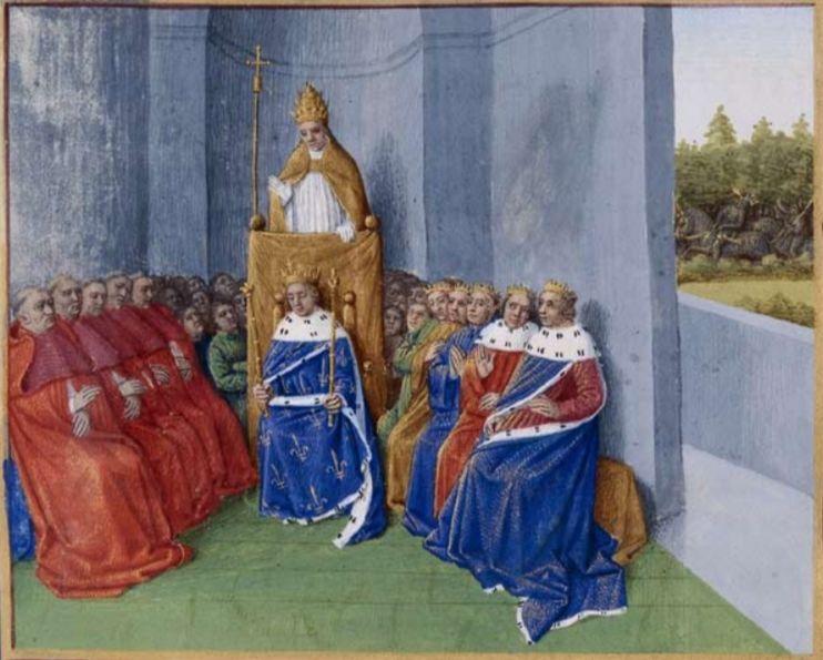 Paus Urbanus II predikt de kruistocht.