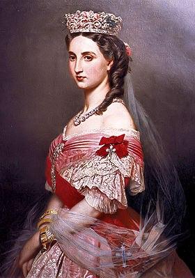 Keizerin Charlotte van Mexico met het lint van haar damesorde; de Orde van Sint-Karel