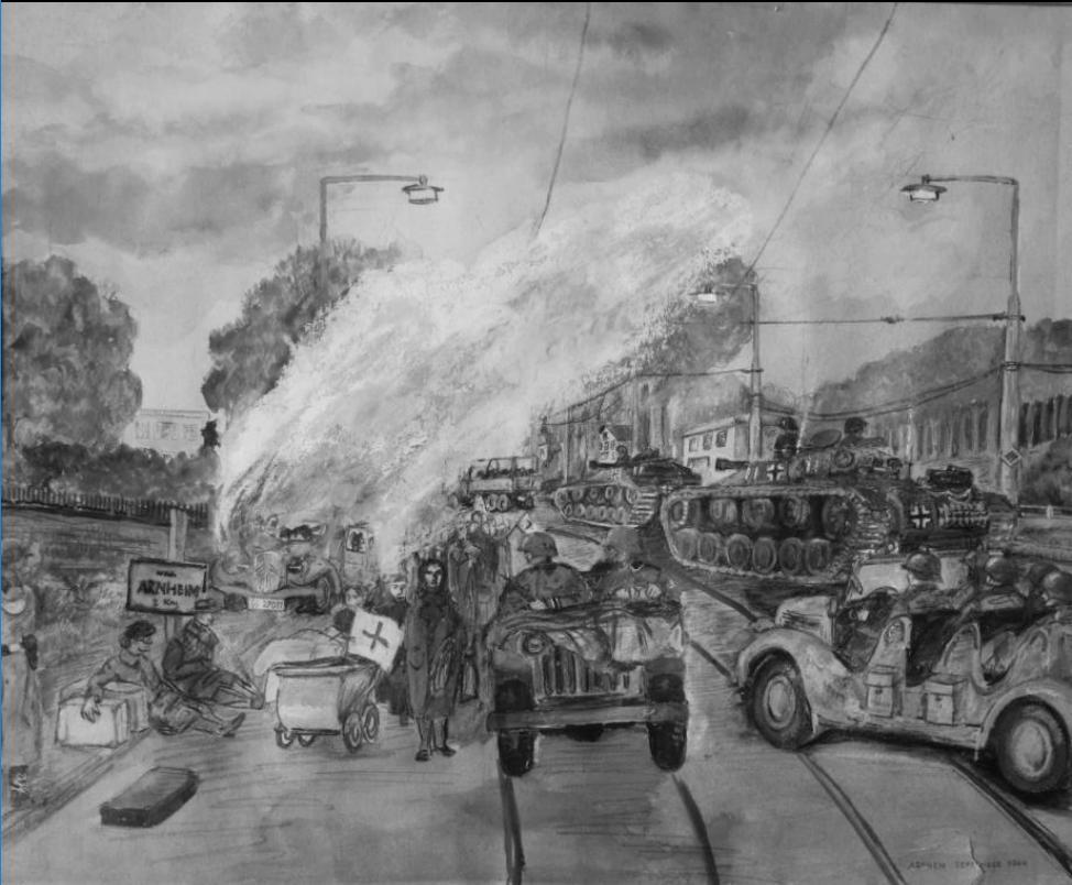 Het boek bevat diverse tekeningen van Leo Brameijer (1929-1984), echtgenoot van Tineke Boels, één van de medewerkers aan het boek. Hier vluchtende Arnhemmers in de chaos op de Velperweg, aan de rand van de stad.