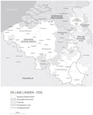 De lage landen (1700). Bron: De Zonnekoning