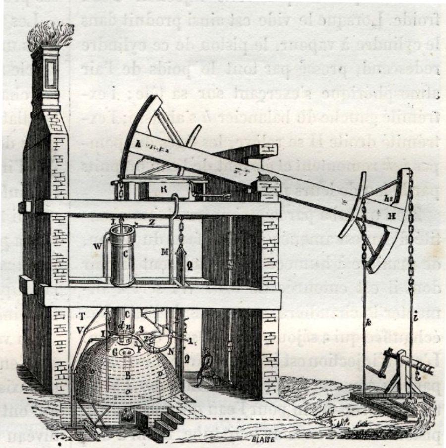 De stoommachine van Newcomen uit 1868.