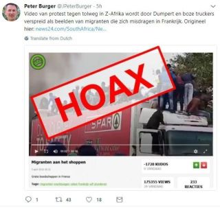Hoax, ontmaskerd door Peter Burger: 'Migranten die zich in Frankrijk misdragen' protesteerden tien jaar eerder in Zuid-Afrika tegen een tolweg.