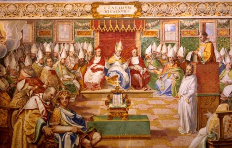 Eerste Concilie van Nicea, zestiende-eeuws fresco (wiki)