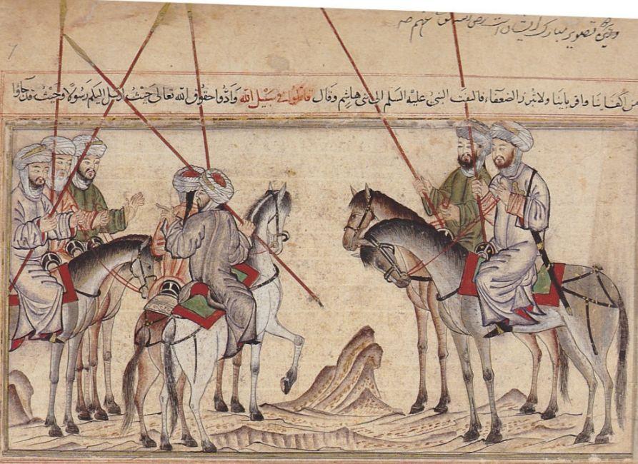 Mohammed vermaant zijn familie vlak voor de slag bij Badr - Illustratie uit de Jami' al-tawarikh van de historicus Rashid al-Din (wiki)