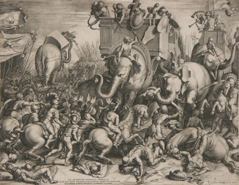 De slag bij Zama door Cornelis Cort, 1567