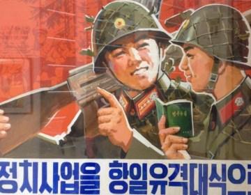 Propaganda-poster uit Noord-Korea (cc - Ged Carroll)