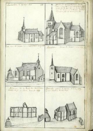 Het schetsenboek van Hendrik Verhees geeft een beeld van het middeleeuwse kerkenlandschap van Noord-Brabant (Archief Bisdom Den Bosch)