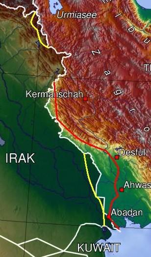 De maximale verschuivingen van de frontlijnen: de rode lijn geeft Iraks verste front aan en de gele lijn geeft Irans verste front aan. (CC BY-SA 3.0 - Beademung - wiki)
