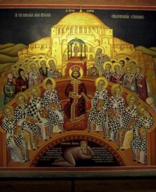 Eerste Concilie van Nicea met Arius liggend onder de voeten van de keizer (CC BY-SA 3.0 - Jjensen - wiki)