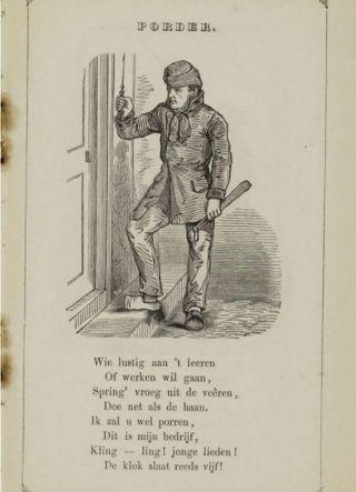 Porder in een prentenboek van J. Schenkman en Pieter van Arum, ca. 1850 (Publiek Domein - KB - wiki)