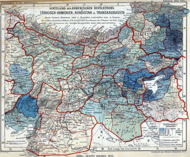 Armeniërs als percentage van de Ottomaanse bevolking, gebaseerd op de officiële volkstelling en cijfers uit tsaristisch Rusland. Er zijn drie concentraties: het oostelijke (Russische) deel, het deel rond het Van-meer, en in het zuidwesten het voormalige Kruisvaardersstaatje Cilicië.