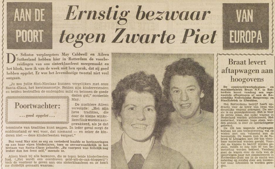 May Caldwell maakte ernstig bezwaar tegen Zwarte Piet in Het Vrije Volk, 6 december 1958.