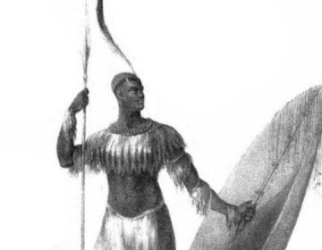Tekening van Shaka Zoeloe in een boek uit 1824 van Nathaniel Isaacs