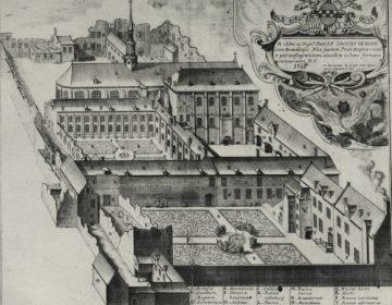 Heropgebouwde klooster van de Dominicanen in Brussel in 1715, na de Franse bombardementen van 1695.