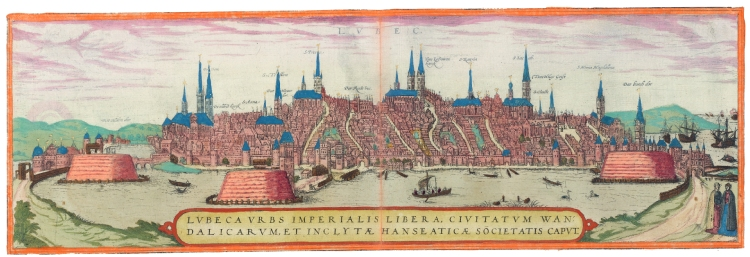De stad Lübeck, koningin van de Hanze. Georg Braun en Frans Hogenberg, deel 1. Amsterdam, Allard Pierson UvA, otm: hb-kzl xi b 1 (25). Uit: De geschiedenis van Nederland in 100 oude kaarten
