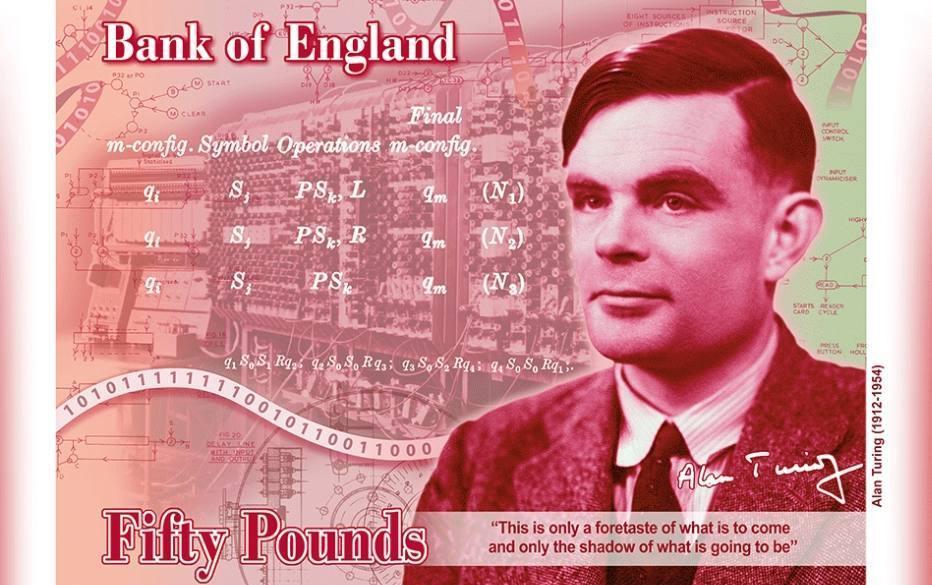 Codekraker Alan Turing op Brits bankbiljet van 50 pond
