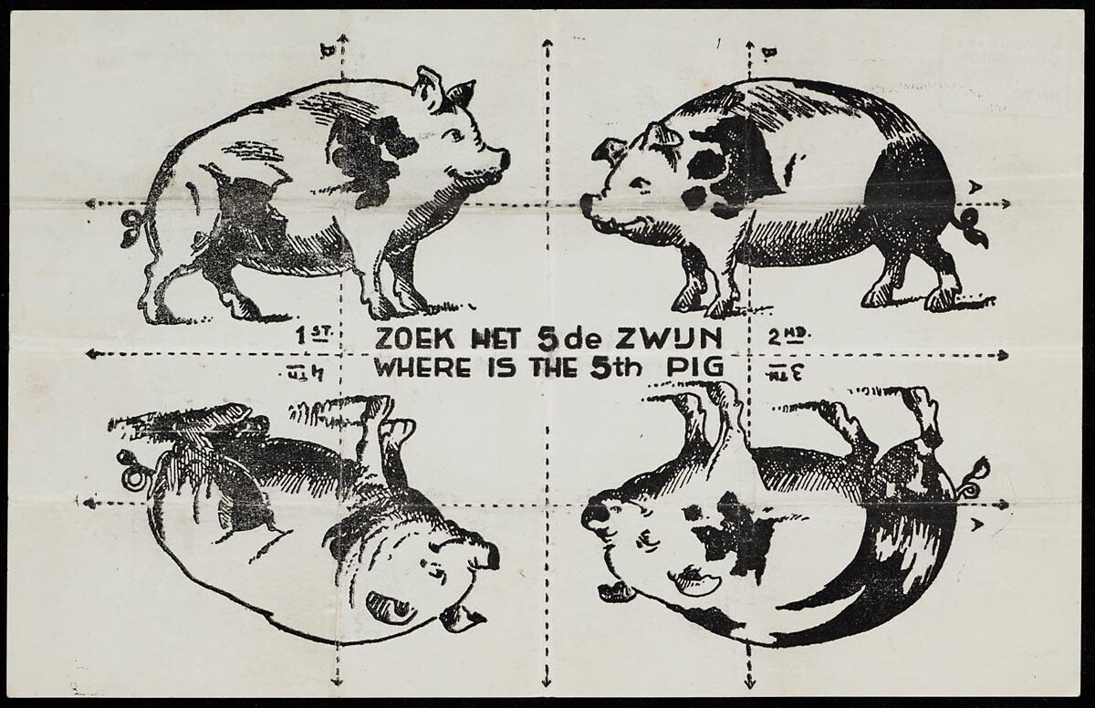 'Zoek het vijfde zwijn' (WOII-vouwpuzzel)