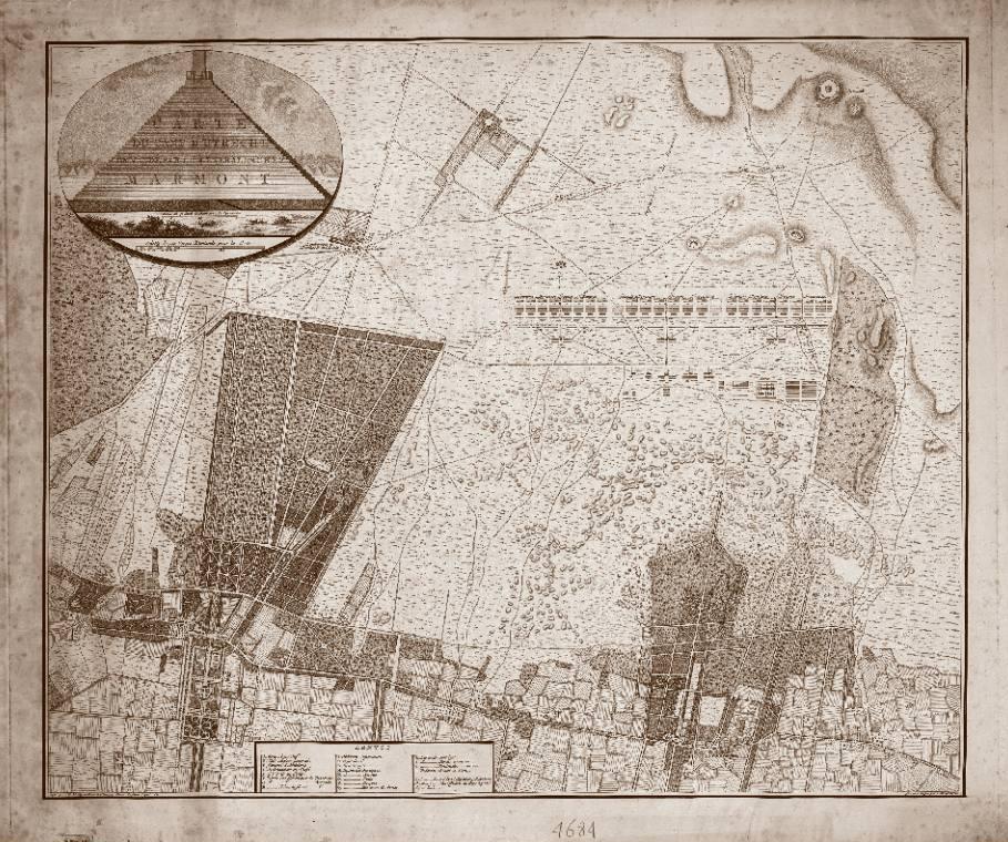 Positionering van het Camp d'Utrecht bij Zeist in 1804