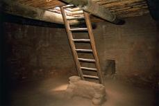 Pecos Pueblo, Kiva Reconstruction: Ladder, Ceiling, Deflector, Ventilator Shaft; 1300-2001; Pecos, New Mexico