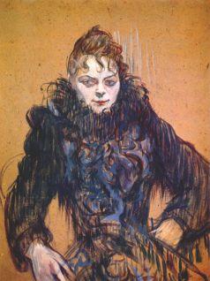 woman w black feather boa 1892