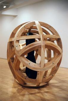 Martin Puryear; Vessel; 1997-2000; pitchpine, mesh, and tar