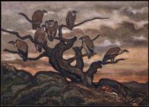 Antoine Louis Barye; Vultures on a Tree; watercolor; 27.1 x 38.4 cm