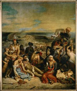 Eugène Delacroix; The Massacre of Chios. Greek Families Waiting for Death or Slavery; 1824; oil on canvas; 419 x 354 cm; Musée du Louvre