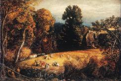 Samuel Palmer; Gleaning Field; c.1833; oil and tempera; 13 x 18 in