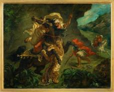 Eugène Delacroix; Tiger Hunt; 1854; oil on canvas; 73.5 x 93.5 cm; Musée d'Orsay