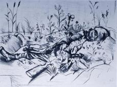 Otto Dix; Dead Soldier; 1924; drypoint