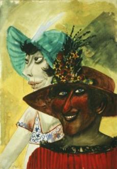Otto Dix; Servant on Sunday; 1923; watercolor; 54 x 37 cm