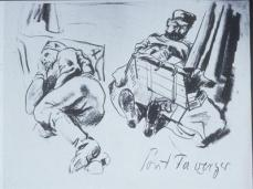 Otto Dix; Soldiers Sleeping and Writing; 1915; black chalk; 25.2 x 32.8 cm