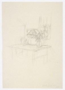 Alberto Giacometti; Table Before Dormer Window; 1950; graphite; 51.2 x 35.7 cm; National Gallery of Art