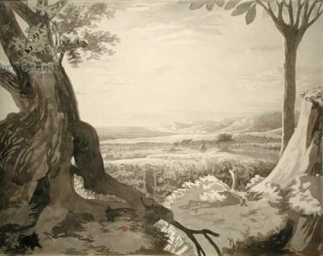 Philipp Otto Runge, Nile Valley Landscape, 1805-6, grey pencil on paper 39.8 x 50.1 cm.., Hamburg Kunsthalle.