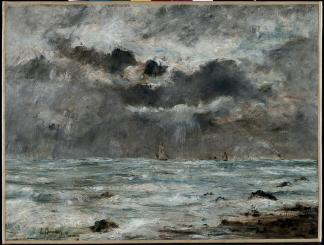 Eugene Boudin; The Coast at Trouville; c.1865-1900; oil on fabric