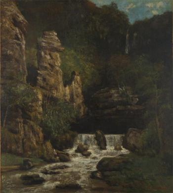 Jean Gustave Courbet; Landscape with Waterfall; c.1865; oil on canvas; 36 x 32 in; Yale University Art Gallery